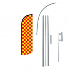 Red & Yellow Checkered Extra Wide Windless Swooper Flag Bundle