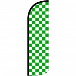 Checkered Green & White Extra Wide Windless Swooper Flag