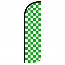 Green & White Checkered Extra Wide Windless Swooper Flag