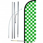 Checkered Green & White Extra Wide Windless Swooper Flag Bundle