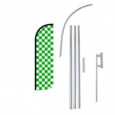 Green & White Checkered Extra Wide Windless Swooper Flag Bundle