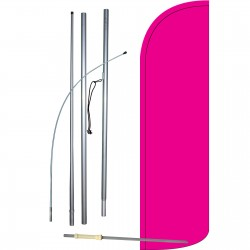 Solid Pink Extra Wide Windless Swooper Flag Bundle
