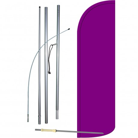 Solid Purple Extra Wide Windless Swooper Flag Bundle