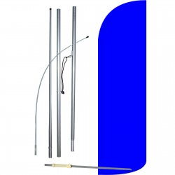 Solid Blue Extra Wide Windless Swooper Flag Bundle