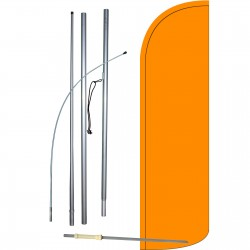 Solid Orange Extra Wide Windless Swooper Flag Bundle
