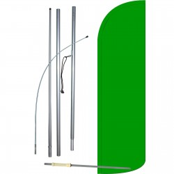 Solid Green Extra Wide Windless Swooper Flag Bundle