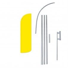 Solid Yellow Extra Wide Windless Swooper Flag Bundle