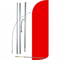 Solid Red Extra Wide Windless Swooper Flag Bundle