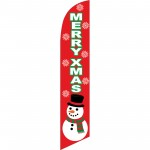Merry X-Mas Red Windless Swooper Flag