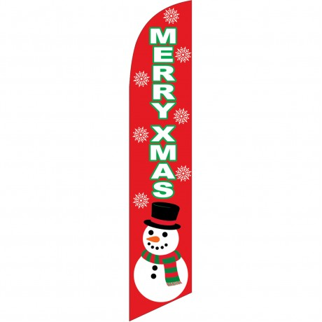 Merry Xmas Red Windless Swooper Flag