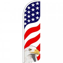 USA Eagle Extra Wide Windless Swooper Flag