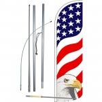 USA Eagle Extra Wide Windless Swooper Flag Bundle