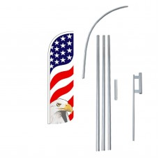 USA Eagle Extra Wide Windless Swooper Flag Bundle