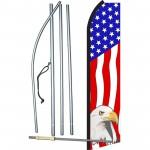 USA Eagle Vertical Swooper Flag Bundle