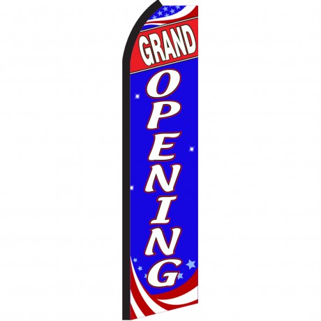 Grand Opening Blue Patriotic Swooper Flag