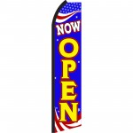 Now Open Blue Patriotic Swooper Flag