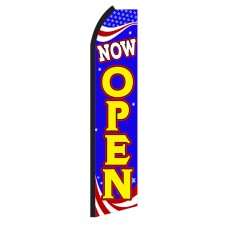 Now Open Red, White & Blue Swooper Flag