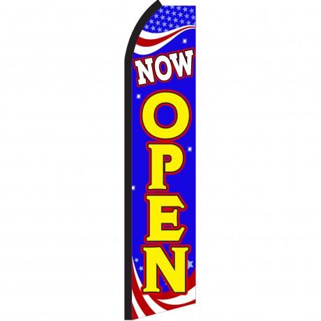 Now Open Blue Patriotic Swooper Flag