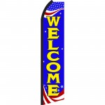 Welcome Blue Patriotic Swooper Flag