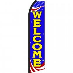 Welcome Blue Patriotic Swooper Flag