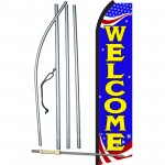 Welcome Blue Patriotic Swooper Flag Bundle