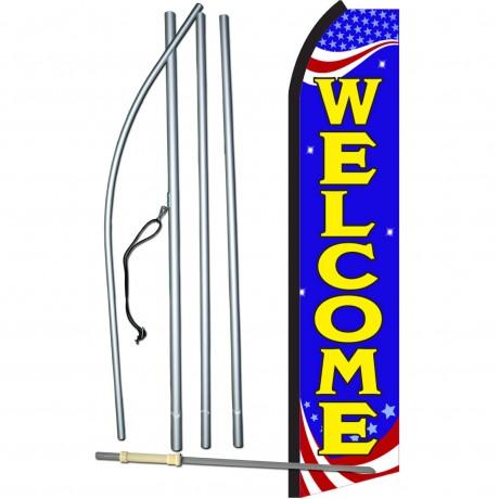 Welcome Blue Patriotic Swooper Flag Bundle
