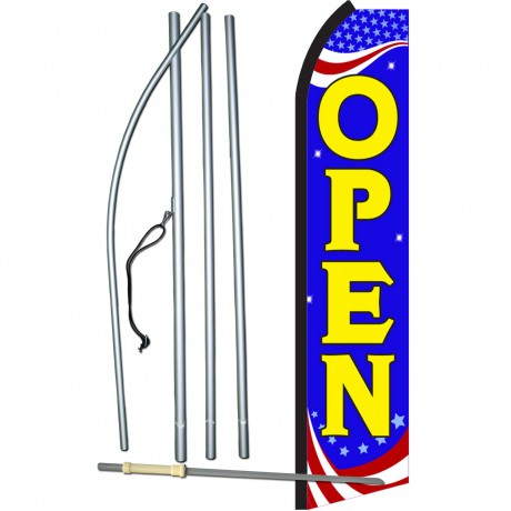Open Blue Patriotic Swooper Flag Bundle