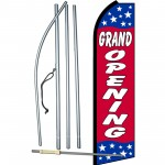Grand Opening Red Stars Swooper Flag Bundle