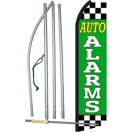 Auto Alarms Green Checkered Swooper Flag Bundle