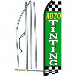 Auto Tinting Green Checkered Swooper Flag Bundle