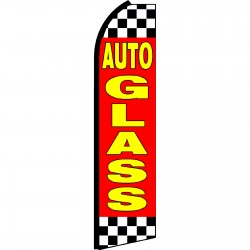 Auto Glass Red Checkered Swooper Flag