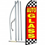 Auto Glass Red Checkered Swooper Flag Bundle