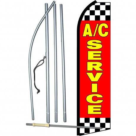 A/C Service Red Checkered Swooper Flag Bundle