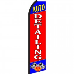 Auto Detailing Red Blue Swooper Flag