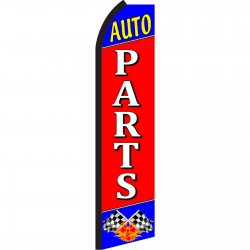Auto Parts Red Swooper Flag