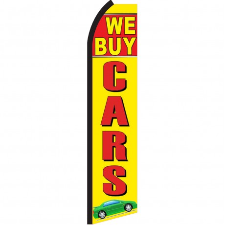 We Buy Cars Yellow Swooper Flag