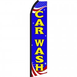 Car Wash Red, White & Blue Swooper Flag