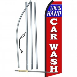 100% Hand Car Wash Red White Swooper Flag Bundle
