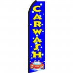 Car Wash Blue Bubbles Swooper Flag