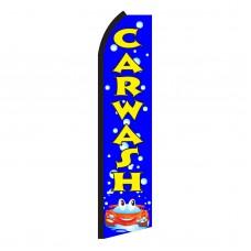 Car Wash Blue Bubbles Swooper Flag