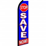 Stop Save Now Blue Swooper Flag