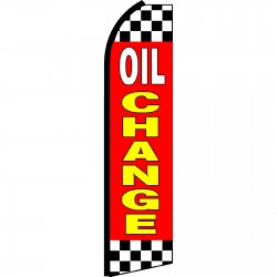 Oil Change Red Checkered Swooper Flag