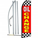 Oil Change Red Checkered Swooper Flag Bundle