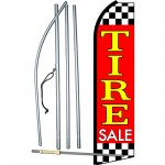 Tire Sale Red Extra Wide Swooper Flag Bundle
