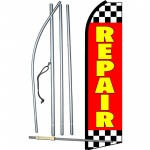 Repair Checkred Red & Yellow Swooper Flag Bundle