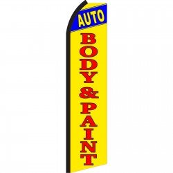 Auto Body & Paint Yellow Swooper Flag