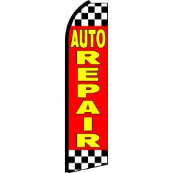 Auto Repair Red Checkered Swooper Flag