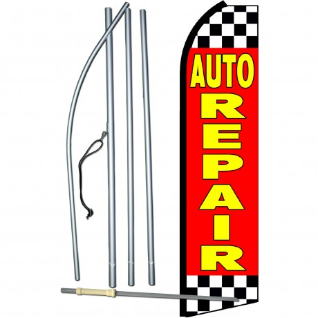 Auto Repair Red Checkered Swooper Flag Bundle