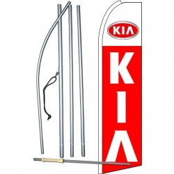 Kia Extra Wide Red Swooper Flag Bundle