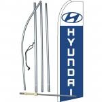 Hyundai Extra Wide Blue Swooper Flag Bundle